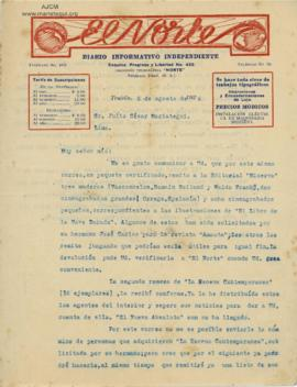 Carta de Alcides Spelucín, 5/8/1926