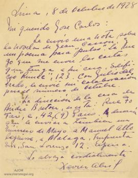 Carta de Xavier Abril