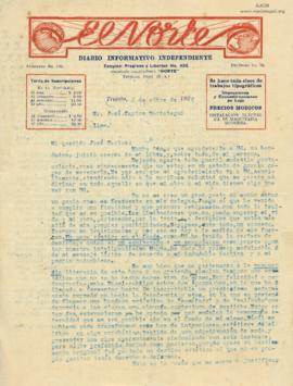 Carta de Alcides Spelucin, 6/10/1926