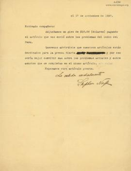 Carta de Stephen Naft, 17/11/1927