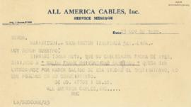 Cablegrama de All America Cables, Inc., 23/11/1929