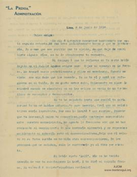 Carta a Bertha Molina (Ruth), 8/6/1916