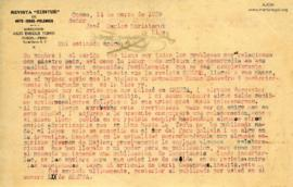Carta de Julio Enrique Torres, 14/3/1929