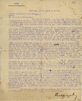 Carta de Lucas Oyague, 14/4/1929