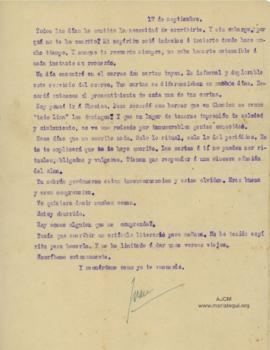 Carta a Bertha Molina (Ruth), 17/9/1916