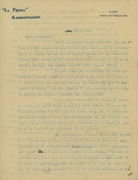 Carta a Bertha Molina (Ruth), 20/5/1916