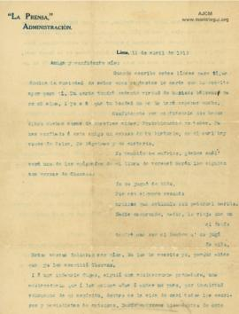 Carta a Bertha Molina (Ruth), 11/4/1916