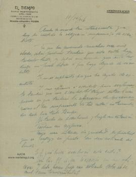 Carta a Bertha Molina (Ruth), 11/10/1916