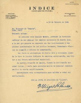 Carta de Vicente Geigel Polanco, 18/2/1930