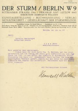 Carta de Herwarth Walden, 12/4/1927