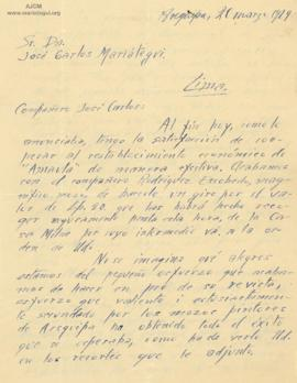 Carta de Guillermo Mercado, 20/3/1929