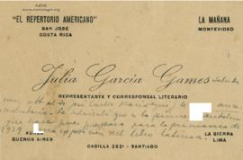 Carta de Julia García Games, 19/7/1928