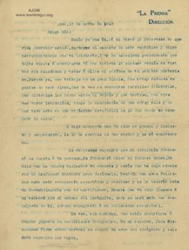 Carta a Bertha Molina (Ruth), 16/2/1916