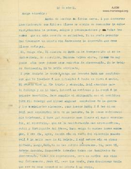 Carta a Bertha Molina (Ruth), 10/4/1916