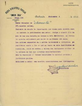 Carta de Antenor Barchez, 9/12/1930