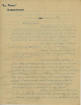 Carta a Bertha Molina (Ruth), 19/5/1916