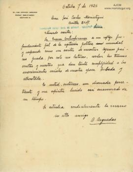 Carta de Alcides Arguedas,7/10/1926