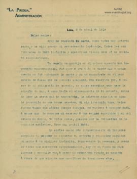 Carta a Bertha Molina (Ruth), 2/4/1916