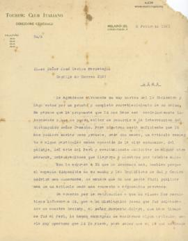 Carta del Touring Club Italiano, 6/2/1925