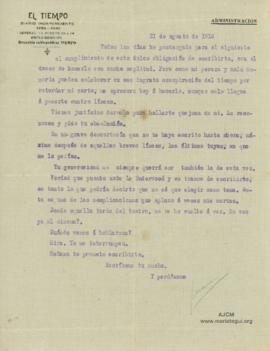 Carta a Bertha Molina (Ruth), 31/8/1916
