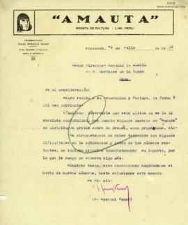 Carta de Julio Speroni Vener