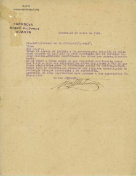 Carta de Miguel Untiveros, 10/03/1926