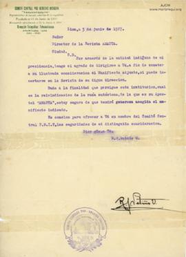 Carta de R. J. Patiño O., 3/6/1927