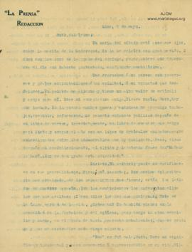 Carta a Bertha Molina (Ruth), 7/5/1916