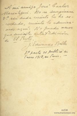 Dedicatoria de Joaquín Edwards Bello
