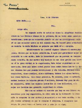 Carta a Bertha Molina (Ruth), 4/2/1916
