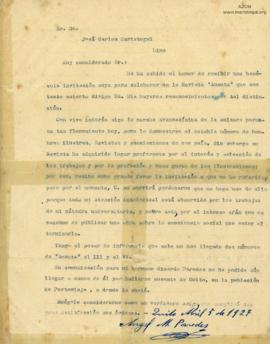 Carta de Angel M. Paredes, 5/4/1927