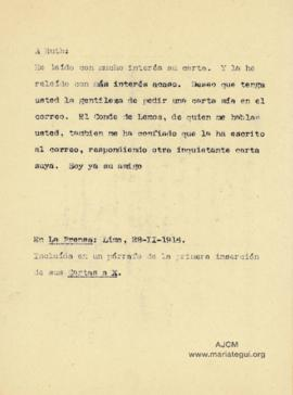 Carta a Bertha Molina (Ruth), 28/2/1916