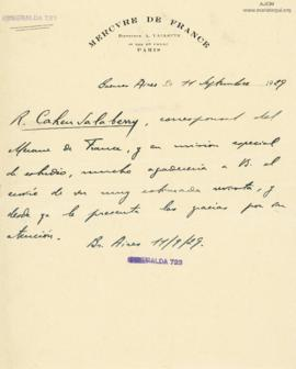 Carta de Robert Cahen Salaberry, 11/9/1929