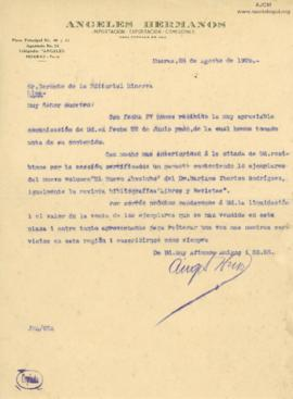 Carta de Angeles Hermanos, 28/8/1926